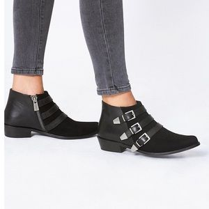 Anine Bing Black Emma Leather Suede Booties/ Boots